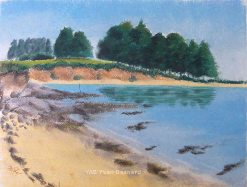 pastel painting Brouel Beach by yab