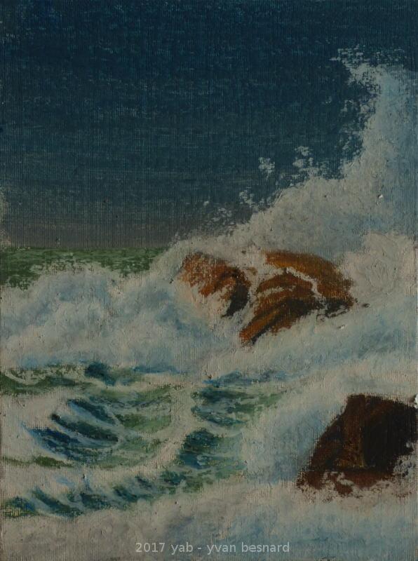 peinture à huile tempete dans les rochers en bretagne