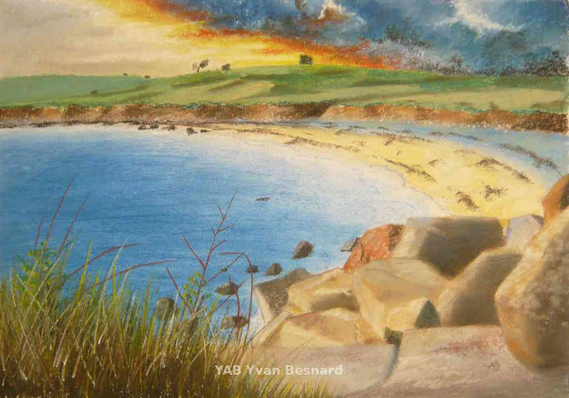 Porspoder bay in brittany soft pastel painting by yab
