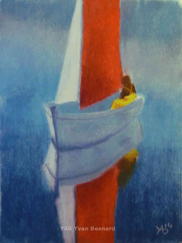 minima boat soft pastel painting by yab in brittany