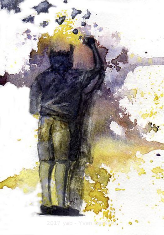 aquarelle de l'enfant qui écrit sa vie sur un mur AQUA001
