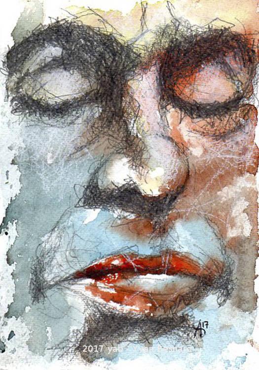 AQUA002 le visage endormi à la peinture aquarelle