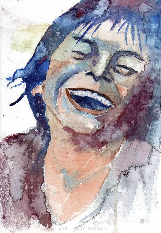 portrait d'un visage souriant à la peinture aquarelle AQUA004