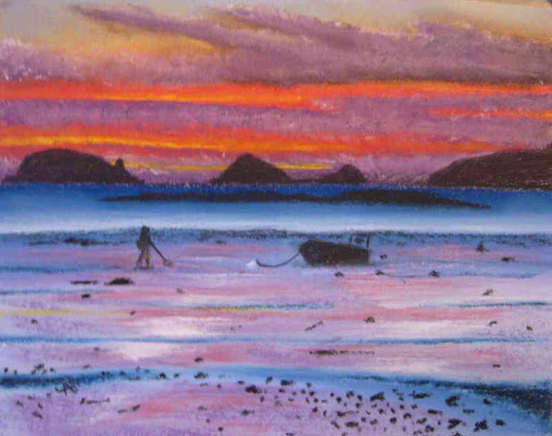 pastel painting to Paimpol bay by yab