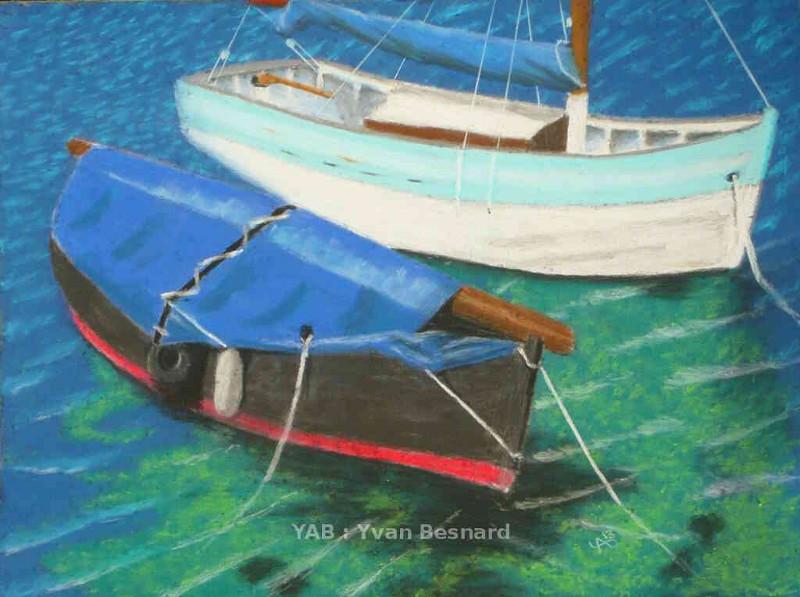voir le tableau original La Bache Bleue réalisé au pastel