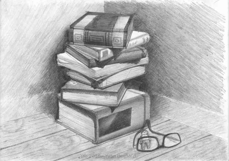 Voir La Pile De Livre Un Dessin Original Au Crayon