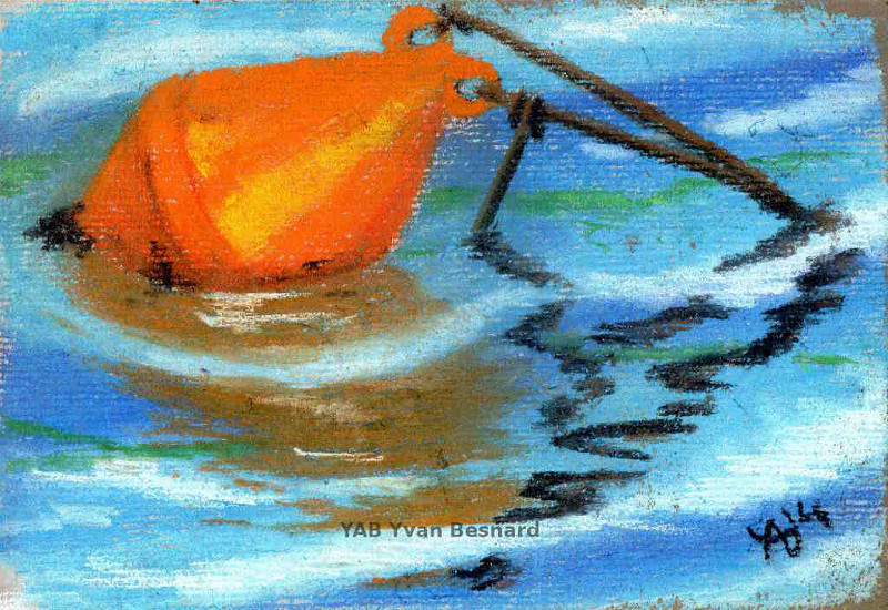la bouee orange tableau au pastel sec par l'artiste contemporain Yab