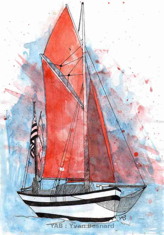 painting old sailboat voiles rouges by yab
