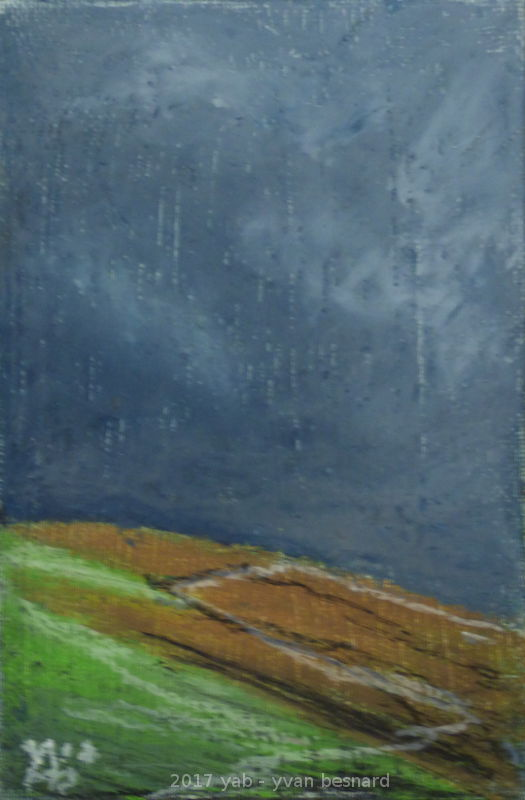 La Colline peinture à l'huile d'un horizon breton sur toile