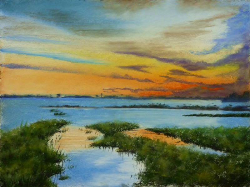 Du côté des Douanes à l'Ile d'Arz tableau aux pastels