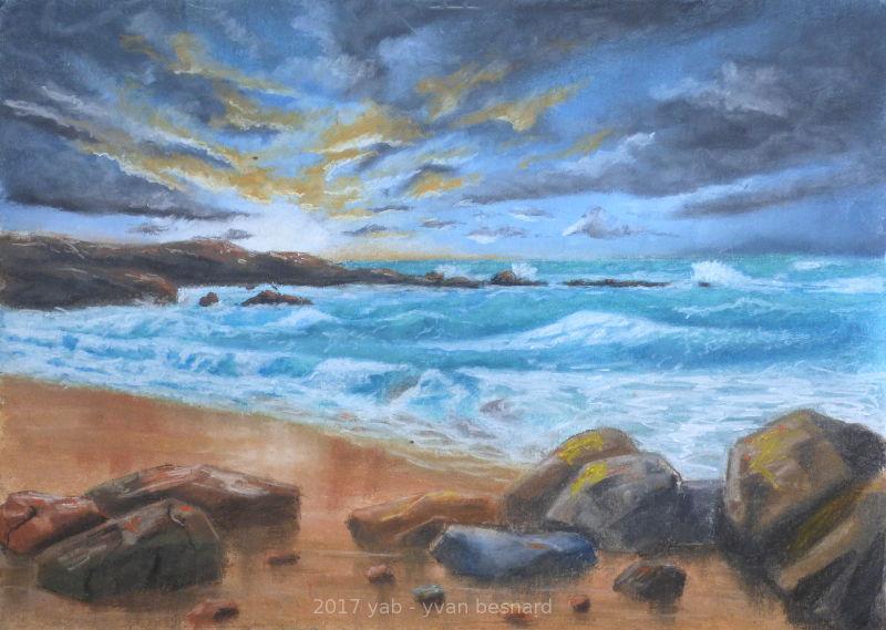 Equinoxe un tableau aux pastels tendres de la côte bretonne