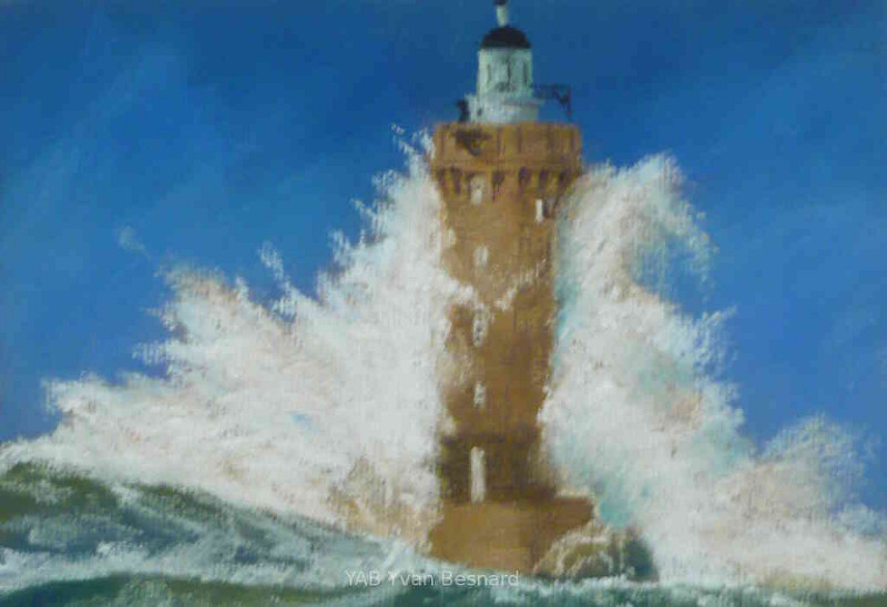 pastel painting of finistere the lighthouse le four by yab