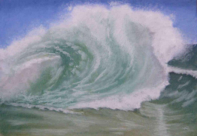 soft pastel painting Green wave by yvan besnard