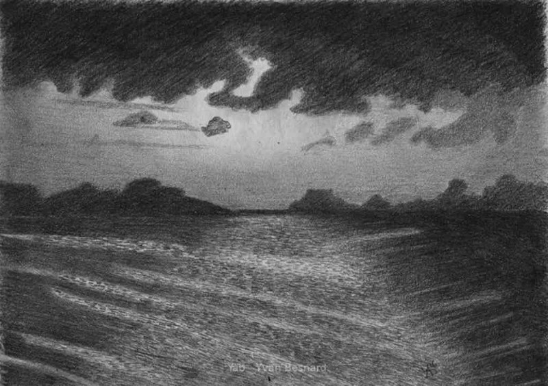 pencil sketching horizon 01 by contemporary artist yab