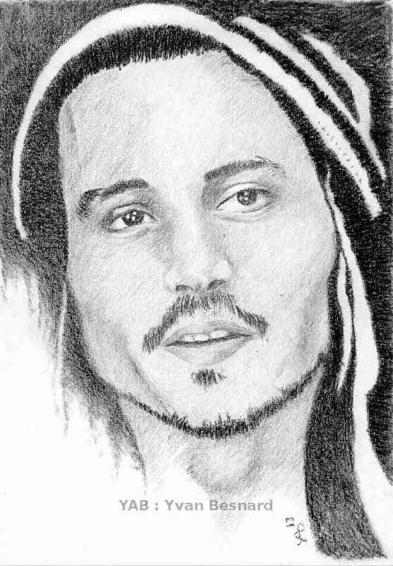 portrait au crayon johnny depp by yab