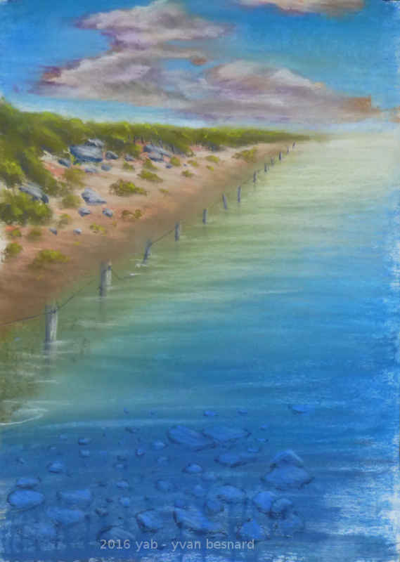 reflets du Sillon du Talbert peinture au pastel de bretagne