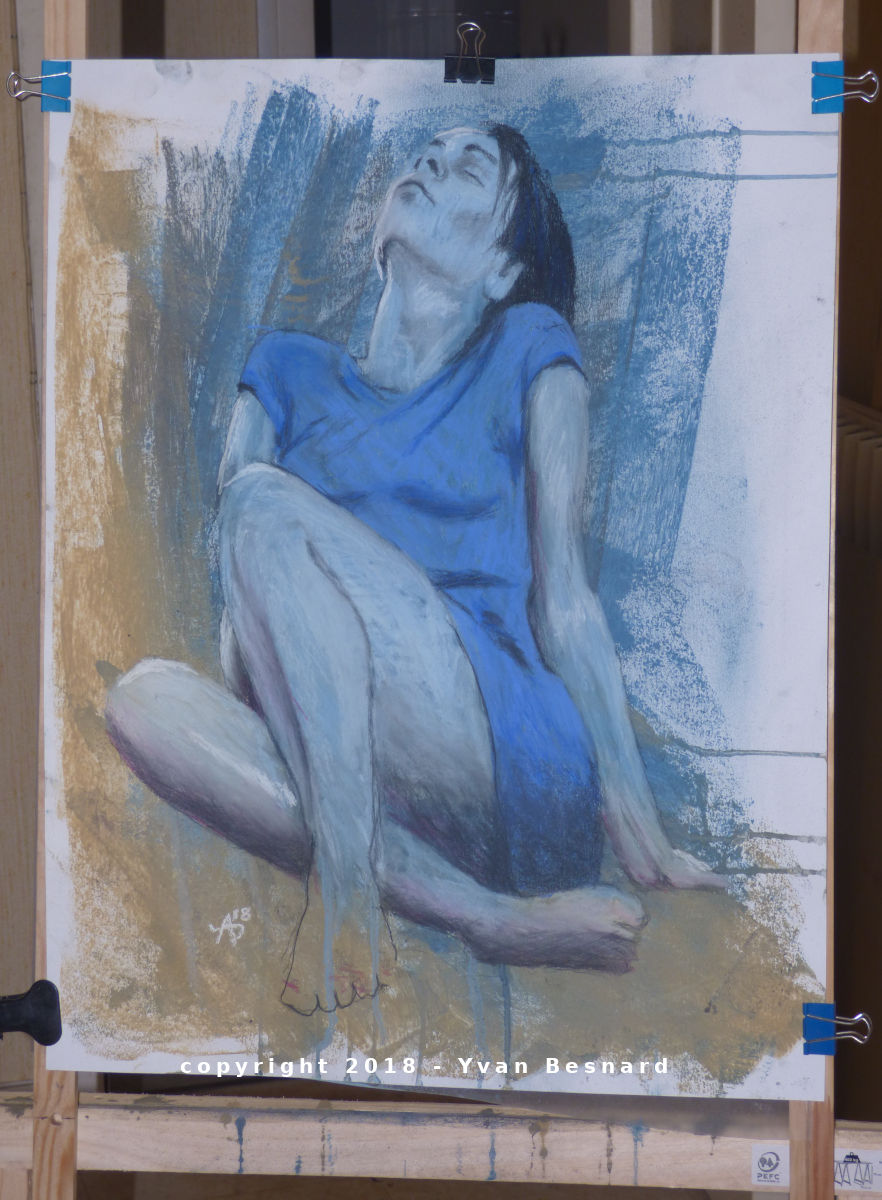 girl with the blue dress drawing pastel