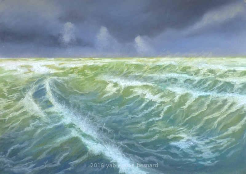 Le creux peinture au pastels de vagues en bretagne