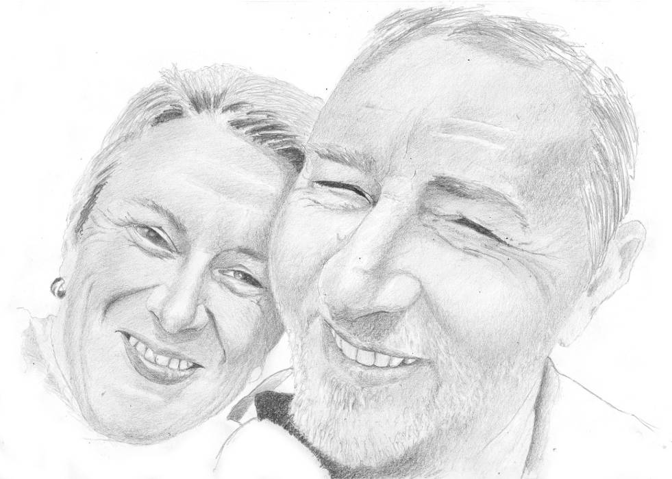 portrait de couple au crayon graphite