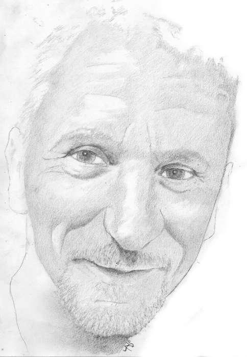Tableau portrait de Thierry dessin à la graphite