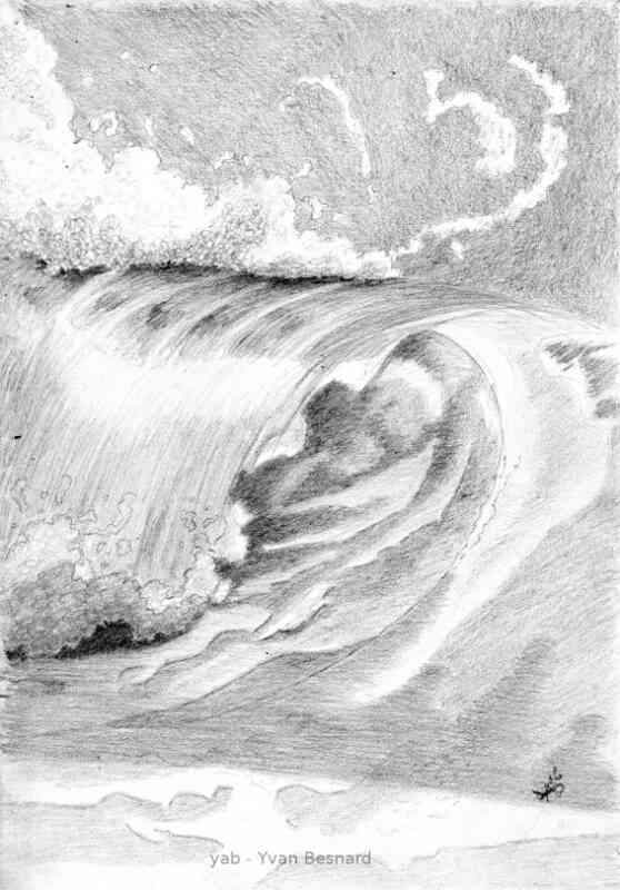 pencil drawing wave 02 by Yvan besnard
