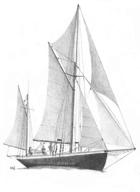Offrir le vieux gr ement voilier n 5 dessin au crayon - Voilier dessin ...