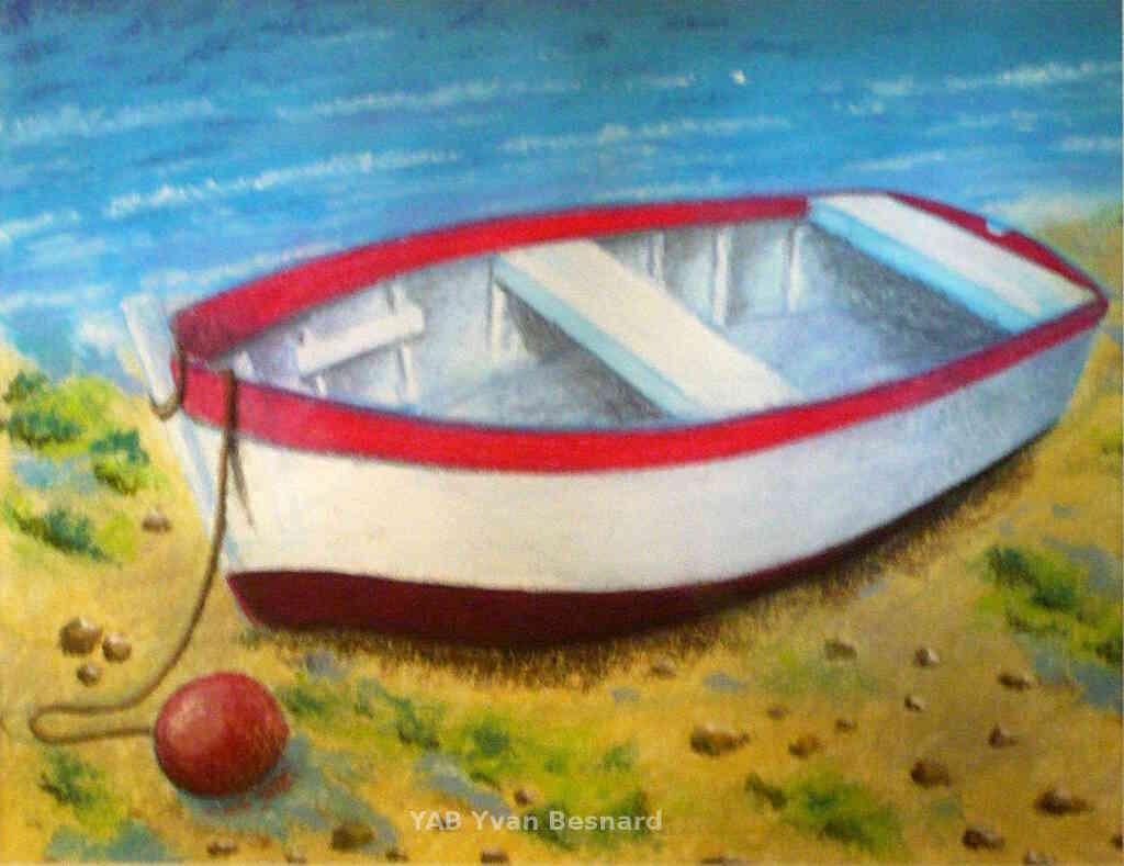 Ultra Voir Madeo un tableau original au pastel sec d'une barque AO-44